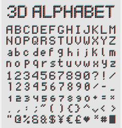 3d pixel font retro style alphabet vector