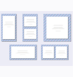a set of cards with blue angles vector image