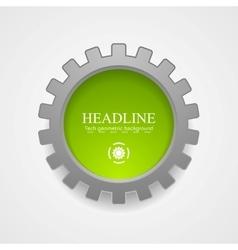 Abstract tech green grey gear icon vector