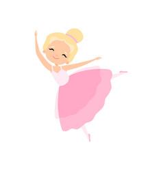 Adorable little ballerina dancing blonde girl vector