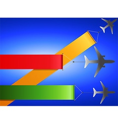 Airplanes flying with banners vector
