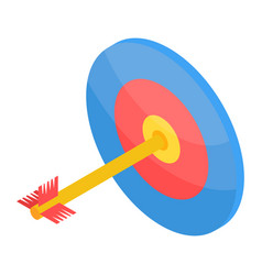 archer shot on target icon isometric style vector image