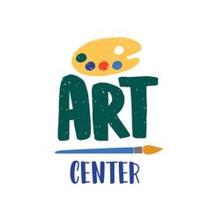 Art center flat logo palette vector