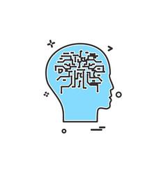 artificial brain intelligence robot icon design vector image