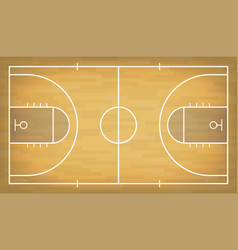 Basketball court with wooden floor view from above vector