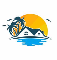 beach house logo design vector image