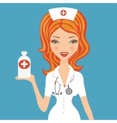 Beautiful doctor holding medicine vector image