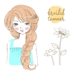 Beautiful romantic girl with braided hair vector