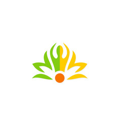 Beauty spa meditation people flower logo vector