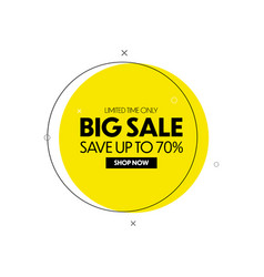 Big sale banner geometric discount tag vector
