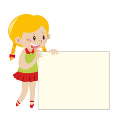 Blond girl holding blank sign vector