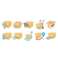 box icon set cartoon style vector image