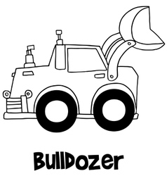 Bulldozer with hand draw vector