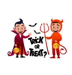 cartoon children vampire and devil costume trick vector image