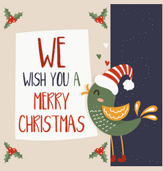 cartoon for holiday theme with bird on winter vector image