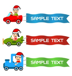 cartoon kids driving toy vehicle with message flag vector image