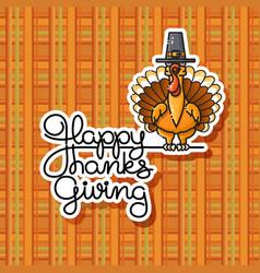 Cartoon turkey in pilgrim hat thanksgiving vector