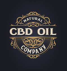 Cbd oil logo vintage style layered vector