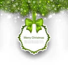 Celebration Card with Bow Ribbon and Fir Branches vector image