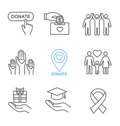 Charity linear icons set vector
