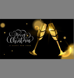 christmas and new year 3d gold drink toast card vector image