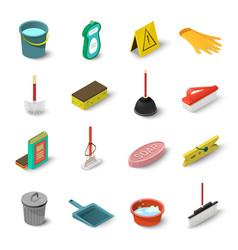 cleaning icons set isometric style vector image vector image