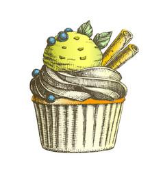 Color tasty ice cream cake sweet dessert vintage vector