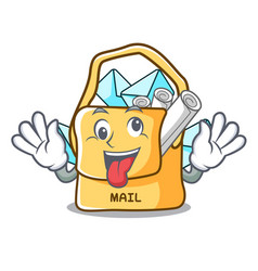 Crazy mail bag character on table front vector