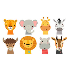 cute animal faces hand drawn characters sweet vector image