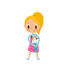 cute blonde girl drinking milk shake with straw vector image