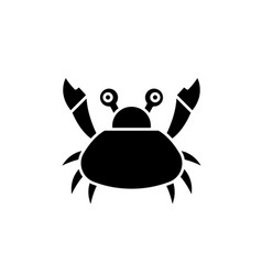 cute crab black icon sign on isolated vector image
