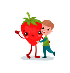 Cute little boy hugging giant strawberry character vector