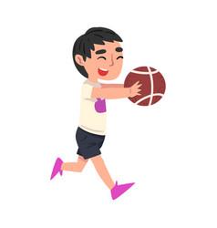 Cute little boy playing with ball cartoon vector