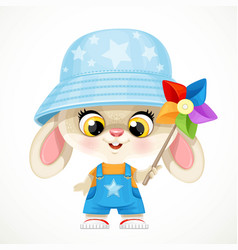 cute little bunny boy rabbit in panama hat plays vector image