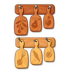 cutting boards on nails kitchen wooden implements vector image