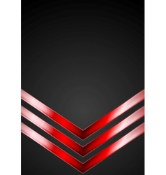 Dark technology background with red arrows vector