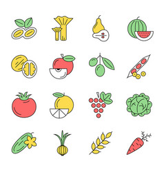 Digital green red yellow vegetable icons set vector