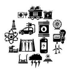energy sources icons set simple style vector image