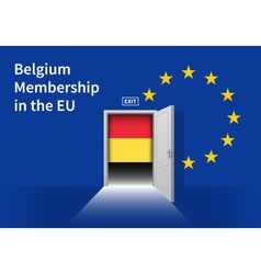 European Union flag wall with Belgium flag door vector