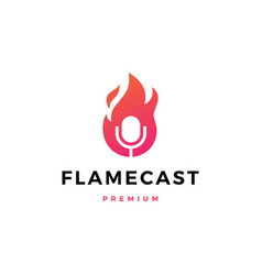 Flame fire podcast mic logo icon vector