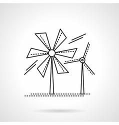 Flat line wind turbines icon vector image