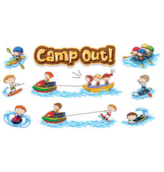 Font design for word camp out with kids doing vector