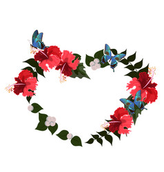 frame hibiscus in form a heart vector image