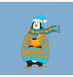 Funny penguin Christmas hat vector