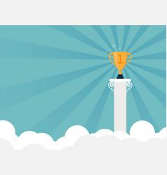 golden trophy on top of pillar vector image
