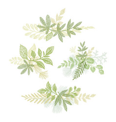 Green bouquets hand drawn composition vector