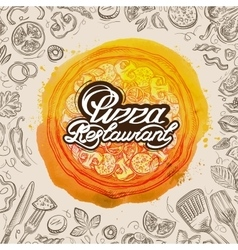 Hand drawn pizza restaurant sketch and food vector