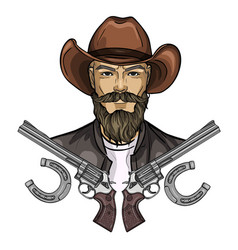 hand drawn sketch cowboy icon vector image
