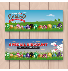 Happy easter web banner with painting eggs vector