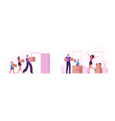 happy family moving into new house mother father vector image